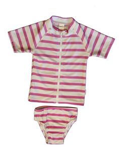 Candy Strips Girls Rash Guard and Bottoms Set SwimZip, $29.99. Whose little girl loves candy and playing in the sand, especially when you do not have to spend 15 minutes lathering their backs, shoulders and tummies in sunscreen?  Then hurry and get this limited addition Candy Strip girls rash guard and matching bottoms!  Girls love our SwimZips! #girls #fashion #swimsuit #pool #sunscreen #upf #bestkidsswim