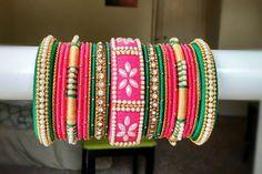 Items similar to 46 Silk Thread Bangle Set Silk Thread Bangles Design, Silk Thread Necklace, Silk Bangles, Bridal Bangles, Thread Jewellery, Silver Bangle Bracelets, Bangle Set, Gold Jewellery, Thread Art