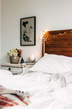 Cosy autumn bedroom update   winter interior inspiration, fairy lights and warm cosy glow for the home