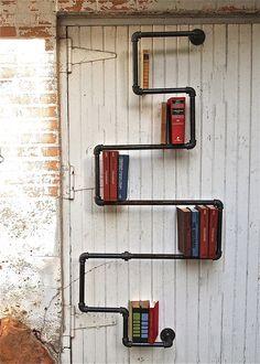 industrial pipe book shelf! LOVES