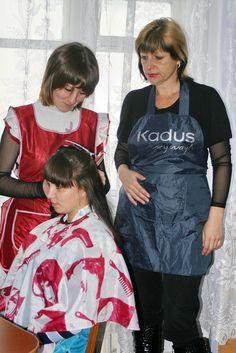 Now the neighbours make a regular thing of coming round to help mum feminise Steven . So humiliating Blouse Nylon, Ruffle Blouse, Beauty Uniforms, Beautiful Haircuts, Nylons, Hair And Beauty Salon, Curlers, Sexy, Apron