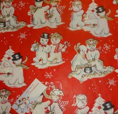 Vintage 1950's Christmas Wrapping Paper, Snow Couples   eBay                                                                                                                                                                                 More