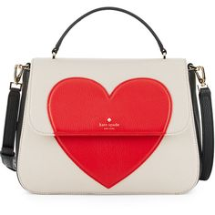 Kate Spade New York be mine alexya heart satchel bag found on Polyvore featuring bags, handbags, multi pattern, red satchel, studded handbags, red purse, red heart purse and handbag satchel