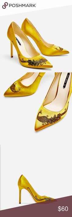 ☀️ZARA SATIN COURT HEELS☀️ Yellow Satin Embroidered Heels by ZARA Embellished Embroidery on instep and side💛 Comes with Zara dust bag Zara Shoes