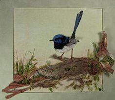 Blue Wren and Grasshopper by Annie Huntley