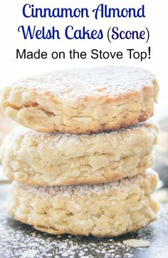 Cinnamon Almond Welsh Cakes, a delicious easy stove top scone, perfect dessert or snack, with a how to video. Welsh Cakes Recipe, Welsh Recipes, Scottish Recipes, British Recipes, Welsh Dessert Recipes, Easy Welsh Cakes, Welsh Desserts, Scottish Desserts, English Recipes