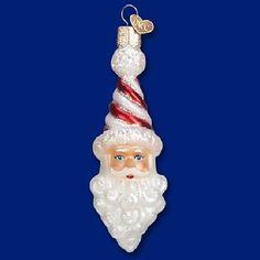 Old World Christmas Peppermint Twist Santa Glass Ornament 40269 FREE BOX New