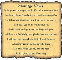 Romantic Wedding Vows Examples For Her and For Him | wedding plans ...