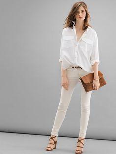 Summer Casual - White linen shirt, tan jeans, tan heels