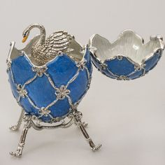 Russian Swan Musical Collectible Egg. Style Of Faberge, Swarovski Crystal, Blue | eBay