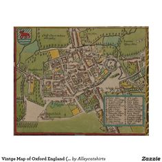 Vintge Map of Oxford England (1605) Poster