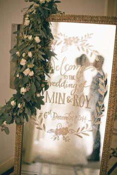 Handwriting on Mirror Wedding Sign / http://www.himisspuff.com/mirror-wedding-ideas/3/