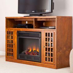 Narita Electric Fireplace Media Cabinet in Glazed Pine - FE9302