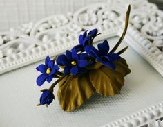 Summer Bouquet Viola Pansy Leather Flowers Brooch by leasstudio