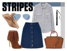 """Stripes"" by gemgem-45 ❤ liked on Polyvore featuring MANGO, Oasis, MICHAEL Michael Kors, Giorgio Armani and Ray-Ban"