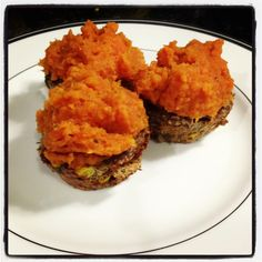 "Grassfed Meatloaf Cupcakes with Sweet Potato ""Frosting"" makes a great meal for nights when you're in a hurry. #healthyeatingparty"