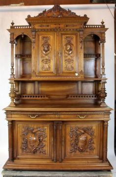 French buffet with carved portrait plaques : Lot 0227 Regency Furniture, Antique Furniture, Space Furniture, Cool Furniture, Antique Decor, French Decor, Carving, Interior Design, Wardrobe Cabinets