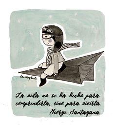 La niña planta. Frase de George Santayana.  Ilustración niño volando en avión de papel.