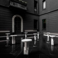 Oeuffice+presents+collection+of+solid+marble+stools+at+Neoclassical+Milanese+hotel