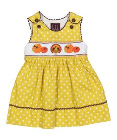 This Yellow Polka Dot Turkey A-Line Dress - Infant, Toddler & Girls is perfect! #zulilyfinds