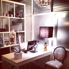 cococozy headquarters office in beverly hills white orchid crystal chandelier white lacquer desk black white home office cococozy 5