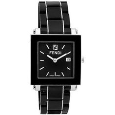 FENDI  Fendi Large Square Ceramic Bracelet Watch    FENDI Black Ceramic. Signature zucchino detail on dial.     • Band length: 195mm.  • Dimensions: 30mm W x 30mm H.  • Quartz movement.  • Date function.  • Water-resistant to 5 ATM (50 meters).    FENDI Made in Switzerland.   Color - Black  Full Fendi warranty for 2 years.   $995    http://www.yslux.com/zoom_img/_1299337801.jpg