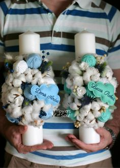 Flowers of Soul Baptism Candle, Bouquet, Easter, Wreaths, Candles, Table Decorations, Flowers, Handmade, Crafts