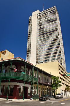 Opposites attract in the central business district of Mobile, Alabama.  Mobile is the county seat of Mobile County.  Alabama's only salt water port, Mobile is located at the head of the Mobile Bay and the north-central Gulf Coast.