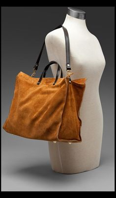 Suede Tote in Camel