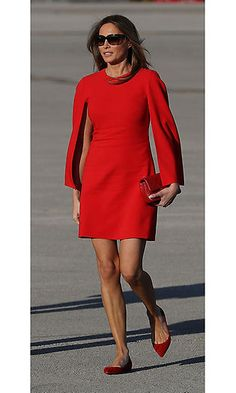 In her first post-inauguration appearance, Melania went for French style from head to toe as she arrived in Palm Beach on Super Bowl weekend, wearing a Givenchy dress that she paired with matching Christian Louboutin flats. Trump Melania, First Lady Melania Trump, Christian Louboutin, Fashion Beauty, Fashion Looks, Womens Fashion, Ladies Fashion, Style Fashion, Geek Fashion