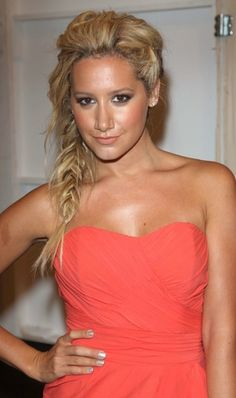 fishtail braid everything in this pic Is pretty. The person (Ashley Tisdale) the tan the dress the hair