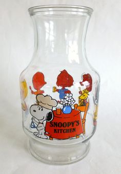 Snoopy's Kitchen Glass Carafe, at one time I actually had 2 of these  they came w/I believe it was a set of 4 small glasses.