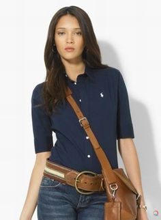 Polo Ralph Lauren Women Shirts Super Slim Full Blue perfect for equestrian wear!