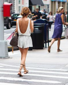 This summer is all about the sexy back and a strapppy sandal the flared shorts were  a nice addition. Broadway, New York City