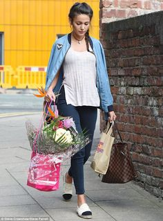 Casual: The ex Coronation Street actress looked casual in double denim, sporting cropped navy trousers, a denim bomber and side-split beige top Free Groceries, Michelle Keegan, 29 Years Old, Double Denim, Beige Top, Coronation Street, Casual Looks, Street Style, Style Inspiration