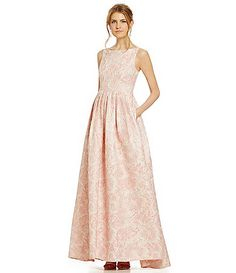 Adrianna Papell Floral Metallic Jacquard Gown