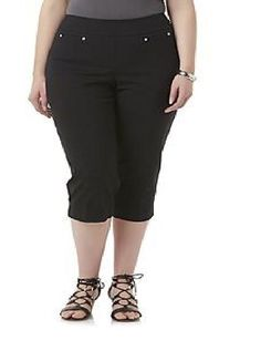 e36d10bfeb1c5 Simply Emma Womens Plus Stretch Capri Pants Black Super Stretch size 18W  NEW 16.99 http