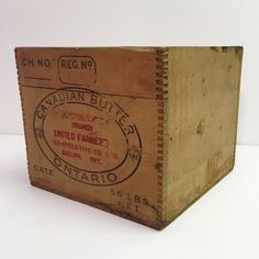 Vintage Butter Box  Wooden Crate Box  Farm Bin  by PickleandCo