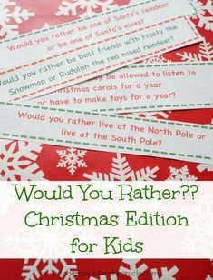 Would you rather? Christmas game for kids. 30 would you rather questions for kids. A free printable that will keep your kids entertained through the holidays. Slip them into the lunch box, add them to the advent calendar or keep some in your purse. Silly