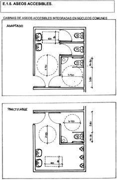 Decreto 8/2003, de 28 de enero, por el que se aprueba el Reglamento de la Ley de Promoción de la Accesibilidad en Extremadura. Wc Design, Toilet Design, Plan Design, Wc Public, Architect Data, Toilet Plan, Bathroom Layout Plans, Outdoor Restaurant Design, Boutique Hotel Room