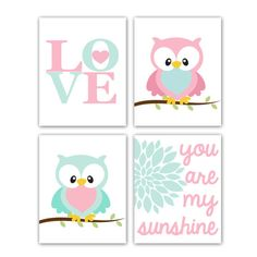 Owl Nursery Prints Owl Art Set of Four 8x10 Inch by GandGPrints, $50.00  Idea for Cassie's room- sub out some for other pics, maybe a deer or elephant with these colors