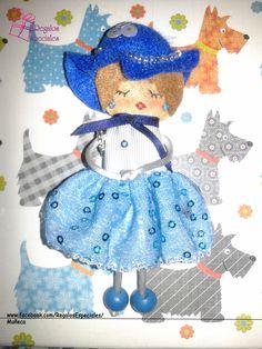 Muñeca en tonos azules.  www.facebook.com/RegalosEspeciales/