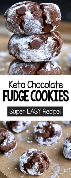 How to make keto cookies at home #diy #keto #ketoideas #almondflour #lowcarbrecipes #chocolateketo #recipe #ketocookies Keto Friendly Desserts, Low Carb Desserts, Low Carb Recipes, Dessert Recipes, Flourless Desserts, Vegan Cookie Recipes, Keto Friendly Chocolate, Chocolate Fudge Cookies, Chocolate Recipes