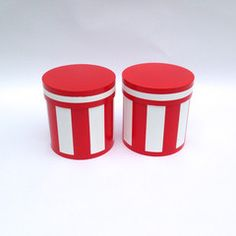 painted red and white stools