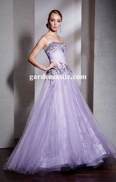 A-line Floor-length Strapless Appliques And Sequins Tulle Prom Dresses 2014 - Gardeniasite