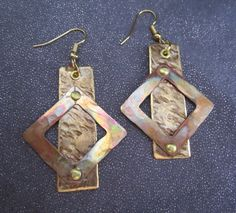 Mixed metal dangle earrings Geometric by FirednWiredJewelry on etsy