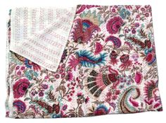 INDIAN White KANTHA QUILT TWIN COTTON BEDSPREAD THROW Decorative Vintage Art #Handmade #Traditional
