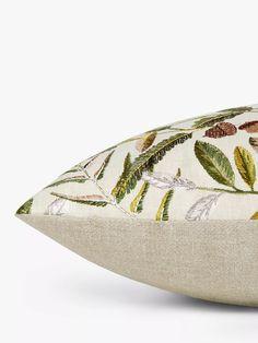 Sanderson National Trust Quercus Cushion, Pesto at John Lewis & Partners Sanderson Fabric, John Lewis Shops, Cushion Filling, National Trust, Pesto, Decorative Bowls, Late Summer, Summer Sun, Delicate