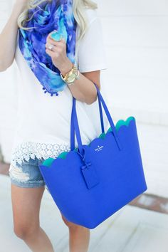Denim Shorts + Printed Scarf
