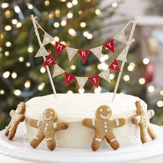 Ginger Ray Vintage Christmas Cake Bunting Topper Decoration - Noel for sale online Christmas Cake Designs, Christmas Cake Topper, Christmas Cake Decorations, Christmas Treats, All Things Christmas, Christmas Holidays, Christmas Cakes, Christmas Bunting, Celebrating Christmas